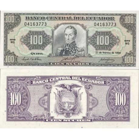 Equateur - Pk N° 123 - Billet de 100 Sucres