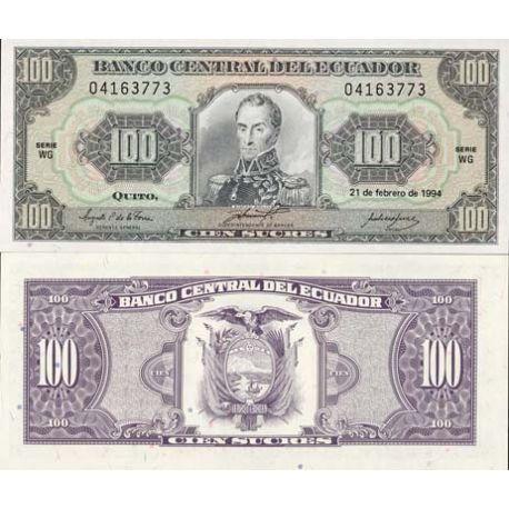 Billets de collection Billets banque Equateur Pk N° 123 - 100 Sucres Billets de l'équateur 8,00 €