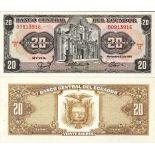 Los billetes de banco Ecuador Pick número 121 - 20 Sucre 1984