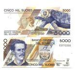 Billets de banque Equateur Pk N° 128 - 5000 Sucres