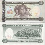 Sammlung von Banknoten Eritrea Pick Nummer 2 - 5 Nafka 1997