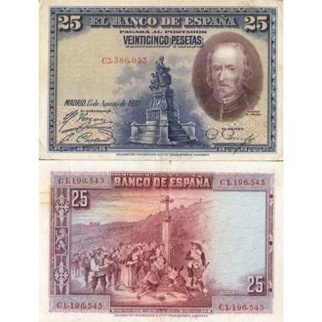 Billets de collection Billets collection Espagne Pk N° 74 - 25 Pesetas Billets d'Espagne 5,00 €
