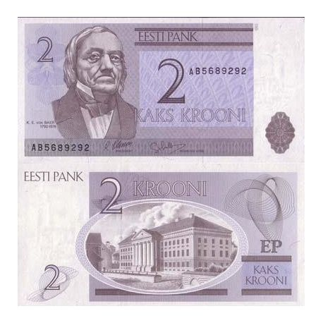 Billets de collection Billet de banque Estonie Pk N° 70 - 2 Kroon Billets d'Estonie 2,00 €