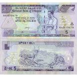 Los billetes de banco Etiopía Pick número 47 - 5 Birr 1997