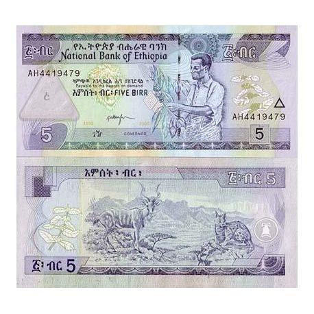 Billet de banque Ethiopie Pk N° 47 - 5 Birr