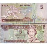 Colección de billetes Fiji Pick número 97 - 5 Dollar 1992