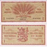 Precioso de billetes Finlandia Pick número 98 - 1 Markka 1963