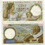 Los billetes de banco Francia Pick número 94 - 100 FRANC
