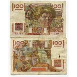Precioso de billetes Francia Pick número 128 - 100 FRANC 1945