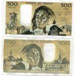 Precioso de billetes Francia Pick número 156 - 500 FRANC 1968