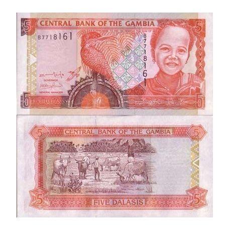 Billet de banque GAMBIE Pk N° 20 - 5 Dalasis