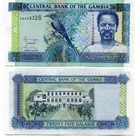 Billets de collection Billets banque Gambie Pk N° 22 - 25 Dalasis Billets de Gambie 8,00 €