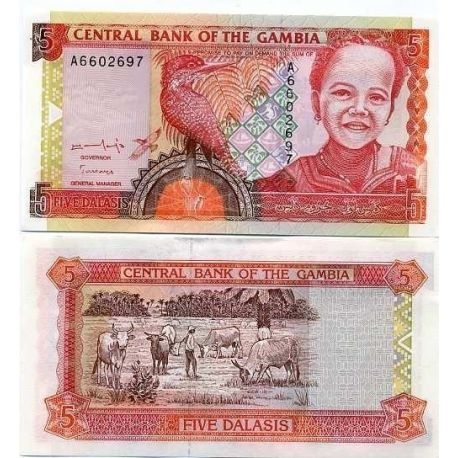 Billets de collection Billet de banque Gambie Pk N° 16 - 5 Dalasis Billets de Gambie 5,00 €