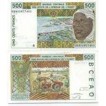 Beautiful banknote Benin Pick number 210 - 500 FRANC 1991