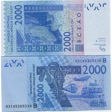 West Africa BENIN - Pk # 216 - ticket 2000 Francs