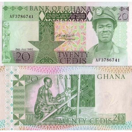 Billet de collection Ghana Pk N° 21 - 20 Cedis