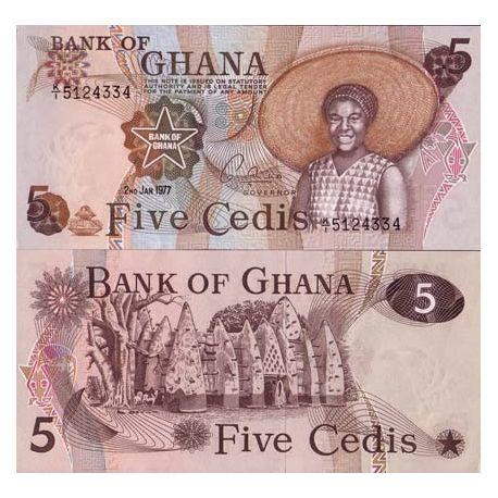 Billets de collection Billets collection Ghana Pk N° 15 - 5 Cedis Billets du Ghana 13,00 €