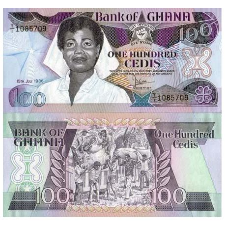 Billets de banque Ghana Pk N° 26 - 100 Cedis