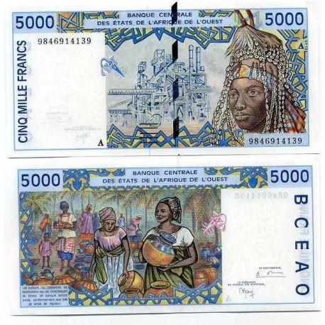 Billet de collection Afrique De L'ouest Cote D'ivoire Pk N° 113 - 5000 Francs