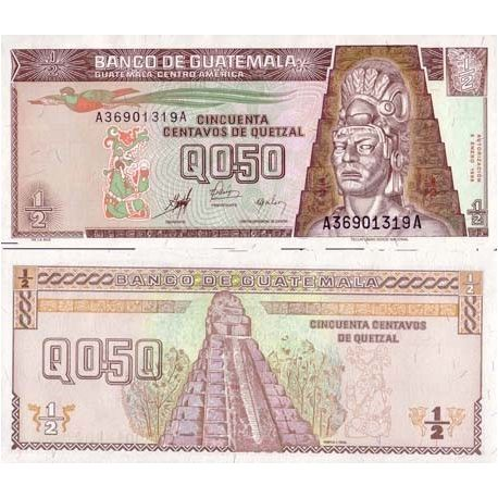 Billets de collection Billets collection Guatemala Pk N° 98 - 0,5 Quetzal Billets du Guatemala 5,50 €
