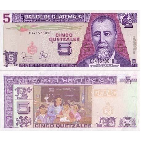 Billets de collection Billet de banque Guatemala Pk N° 106 - 5 Quetzal Billets du Guatemala 4,00 €