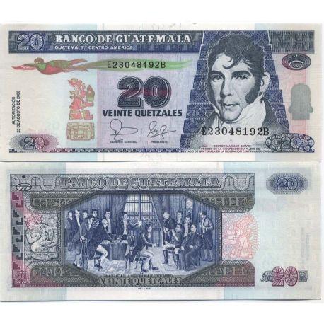 Billets de banque Guatemala Pk N° 109 - 20 Quetzal