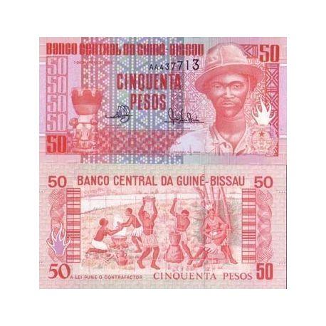 Billets de collection Billets banque Guinee Bissau Pk N° 10 - 50 Pesos Billets de Guinée Bissau 1,50 €