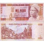 Banknoten Sammlung Guinea-Bissau Pick Nummer 13 - 1000 Peso 1990