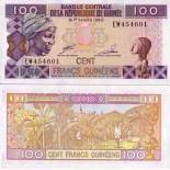 Precioso de billetes Guinea Francés Pick número 35 - 100 FRANC 1998