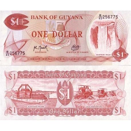 Billets de collection Billets banque Guyana Pk N° 21 - 1 Dollar Billets du Guyana 5,00 €