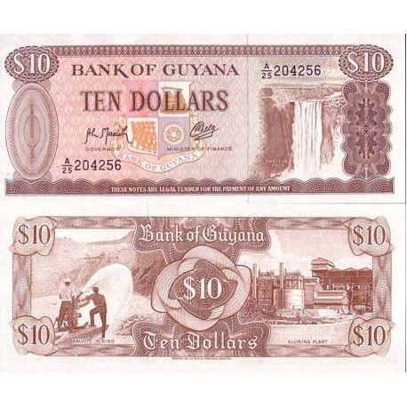 Billets de collection Billets collection Guyana Pk N° 23 - 10 Dollars Billets du Guyana 2,00 €