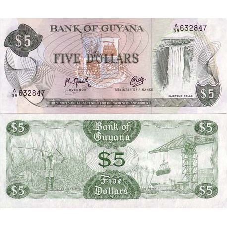 Billet de collection Guyana Pk N° 22 - 5 Dollars