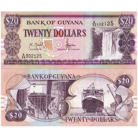 Billets de collection Billets de banque Guyana Pk N° 24 - 20 Dollars Billets du Guyana 5,50 €