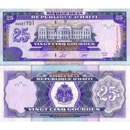 Billets de collection Billets banque Haiti Pk N° 266 - 25 Gourdes Billets d'Haiti 5,00 €