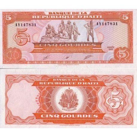Billets de collection Billets de banque Haiti Pk N° 255 - 5 Gourde Billets d'Haiti 6,00 €