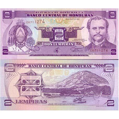 Billets de collection Billet de collection Honduras Pk N° 72 - 2 Lempiras Billets du Honduras 2,00 €