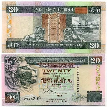 Billet de collection Hong Kong Pk N° 201 - 20 Dollars
