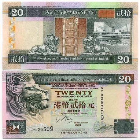Hong Kong - Pk N° 201 - Billet de 20 Dollars