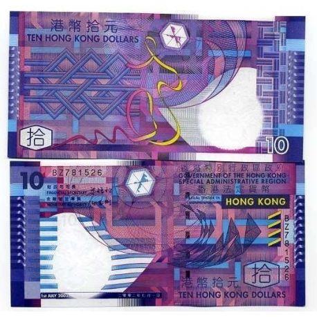 Billets de collection Billets banque Hong Kong Pk N° 401 - 10 Dollars Billets de Hong Kong 5,00 €