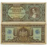 Billets banque Hongrie Pk N° 120 - 100000 Pengo