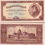 Billet de banque Hongrie Pk N° 124 - 100 MILLIONS Pengo