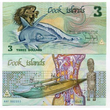 ILES COOK - Pk N° 3 - Billet de 3 Dollars