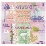 Banknoten Cookinseln Pick Nummer 7 - 3 Dollar