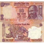 Bello banconote india - Stati indiani Pick numero 89 - 10 Roupie