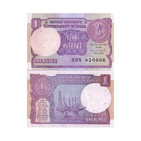 Billets de collection Billet de collection Inde Pk N° 78 - 1 Rupee Billets d'Inde 1,00 €