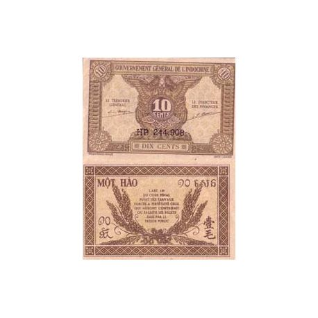 Billet de collection Indochine Pk N° 89 - 10 Cents