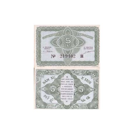 Billets de banque Indochine Pk N° 88 - 5 Cents