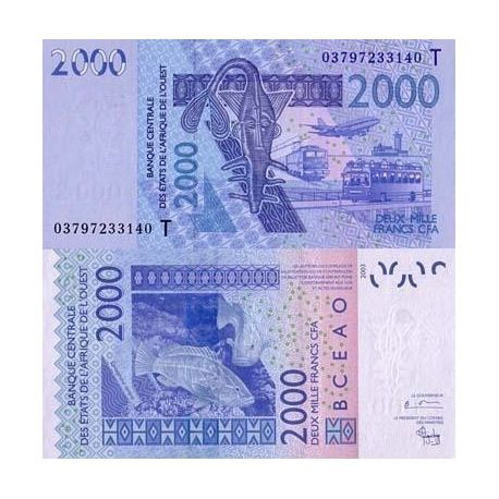 Billet de collection Afrique De L'ouest Togo Pk N° 816 - 2000 Francs