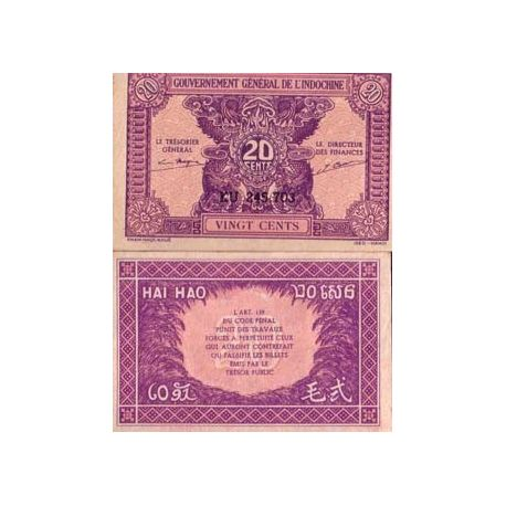 Indochine - Pk N° 90 - Billet de 20 Cents