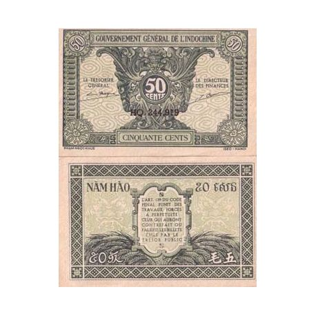 Billets banque Indochine Pk N° 91 - 50 Cents